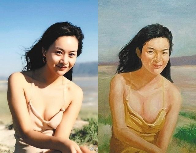 Bai He nhờ một sinh viên vẽ tranh sơn dầu dựa trên ảnh và đây là kết quả