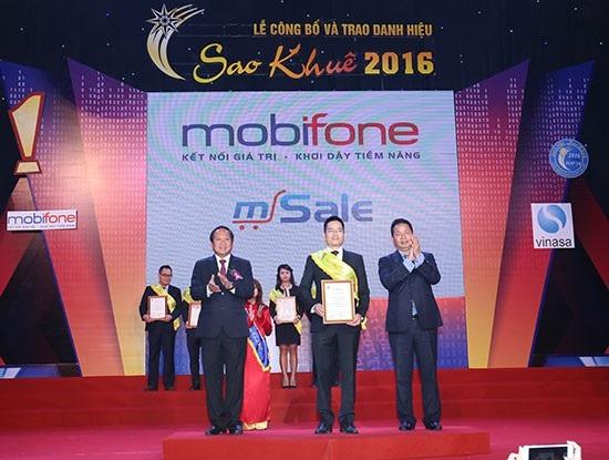 Sản phẩm phần mềm mSale của MobiFone được tôn vinh trong Top 10 nhóm sản phẩm dịch vụ CNTT xuất sắc nhất tại giải Sao Khuê 2016