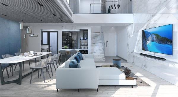 Phòng khách kiêm phòng giải trí thường được thiết kế thoáng đãng, có trần cao theo xu hướng mở