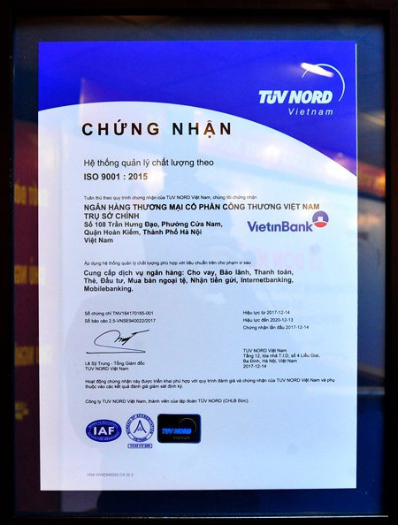 Chứng nhận ISO 9001:2015 dành cho hệ thống Quản lý chất lượng VietinBank