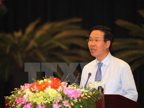 Trưởng ban Tuyên giáo Trung ương Võ Văn Thưởng phát biểu tại hội nghị. (Ảnh: Thanh Vũ/TTXVN)