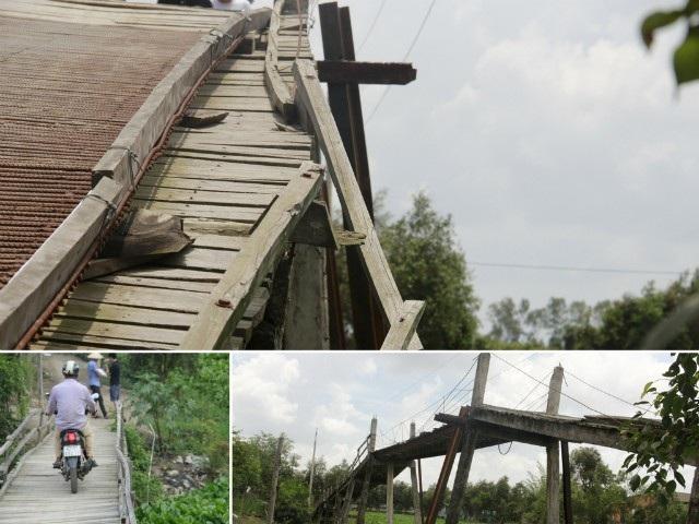 Mặc dù rất nguy hiểm và thường xảy ra tai nạn, nhưng bao năm qua người dân xã Bình Phong Thạnh vân phải ráng đi qua cây cầu nguy hiểm này.