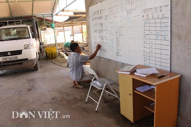 Anh Sơn cẩn thận ghi chép lịch ương cá giống, xuất bán cá thương phẩm trên bảng cho tiện theo dõi.