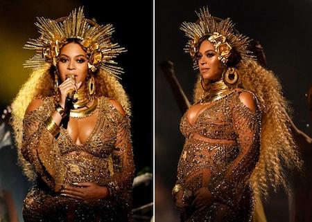 Tại lễ trao giải Grammy hồi đầu năm nay, bà bầu Beyoncé đã trở thành ngôi sao sáng nhất trong đêm trao giải với một bộ trang phục quá đỗi ấn tượng