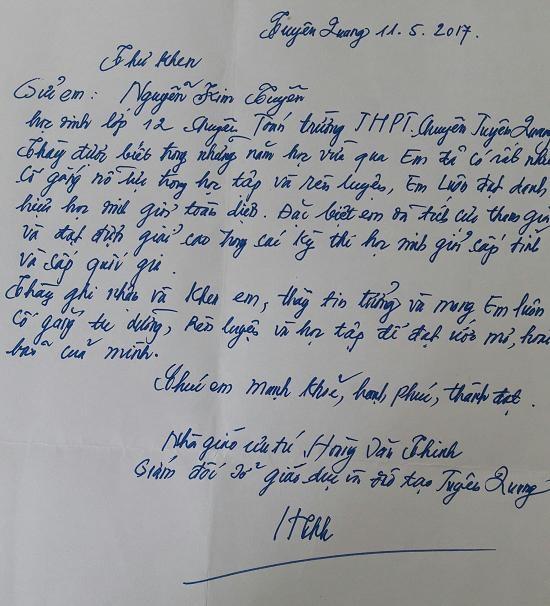 Bức thư tay của Nhà giáo Ưu tú Hoàng Văn Thinh gửi Kim Tuyên.