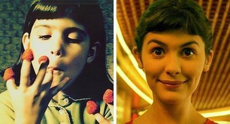 Nhân vật Amelie trong bộ phim cùng tên lúc nào cũng thể hiện được nét hồn nhiên, dễ thương dù là hồi nhỏ (Flora Guiet đóng) hay sau khi trưởng thành (Audrey Tautou đóng)