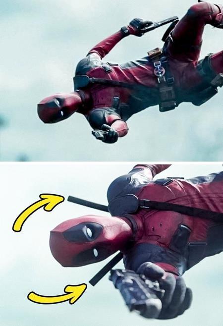 Chỉ bay lượn trong không trung mà Deadpool cũng có thể hô biến ra hai thanh kiếm sau lưng mình