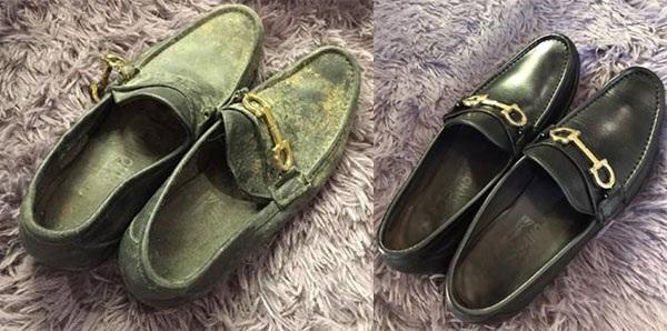 Đôi giày mốc, gãy chốt, mất dáng được sửa chữa như mới