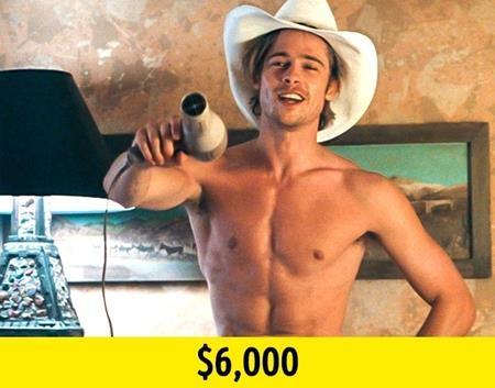 """""""Thelma & Louise"""" là tác phẩm đánh dấu bước tiến lớn trong sự nghiệp của Brad Pitt. Chính vì vậy, nam tài tử vẫn có thể cảm thấy hài lòng dù chỉ nhận mức cát-xê là 6.000 đô la Mỹ."""