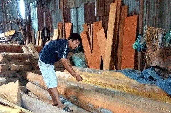 Anh Đỗ Văn Thành người nhiều năm đi săn tìm những thân cây mít lớn, dài chỉ mục đính làm cột nhà.