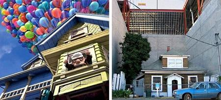 """Ngôi nhà trong phim """"Up"""" thực chất được lấy cảm hứng từ ngôi nhà tại khu phố Ballard, Seattle, Washington. Vào năm 2006, nhà đầu tư giải tỏa khu vực này để xây dựng trung tâm thương mại, việc đền bù đất và tái định cư diễn ra suôn sẻ, duy chỉ có căn nhà của bà Edith Macefield, 85 tuổi không chịu di dời. Thậm chí, bà Edith Macefield đã kiên quyết từ chối 1 triệu đô la Mỹ tiền bồi thường để bám trụ lại cùng tổ ấm yêu thương."""