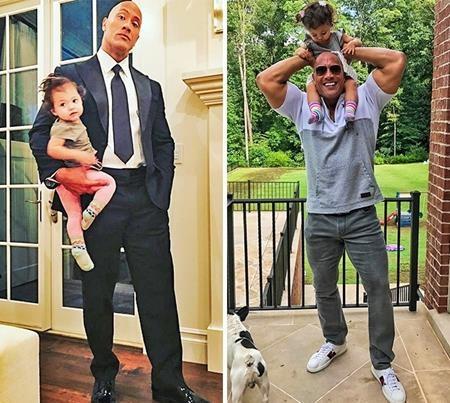 """Dwayne """"The Rock"""" Johnson có thể là một ngôi sao hành động rất """"ngầu"""" tại Hollywood nhưng về đến nhà, nam tài tử sẵn sàng """"đội con gái lên đầu"""" theo cả nghĩa đen lẫn nghĩa bóng."""