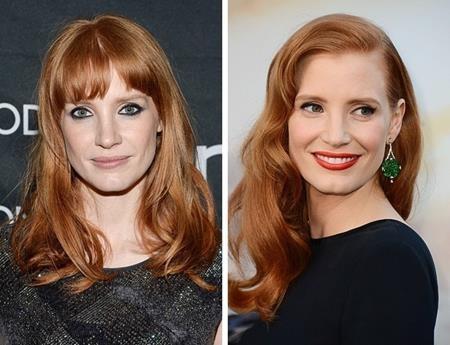 """Jessica Chastain dù đã bước ra khỏi câu lạc bộ """"tóc mái"""" nhưng hình ảnh ngày trước của nữ diễn viên vẫn làm cho các fans hết sức thích thú"""