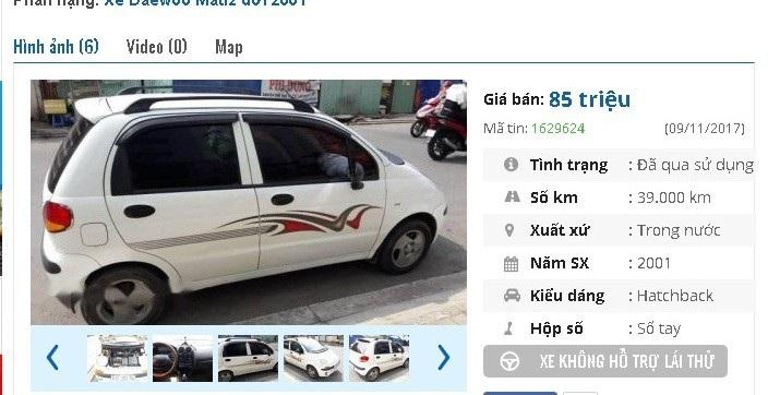 Chiếc Daewoo Matiz đời 2001 số sàn này có giá 85 triệu đồng trên chợ ô tô cũ. Xe được giới thiệu là xe gia đình mới 99%, ít sử dụng, mới chạy được 39.000 km; nội thất, nước sơn tốt, đẹp.