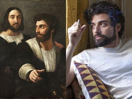 """Oscar Isaac dường như đã """"xuyên không"""" trở về thời kỳ Phục hưng, kết bạn với danh hoạ Raphael và may mắn có được cơ hội xuất hiện trong bức vẽ nổi tiếng """"Self-Portrait with a Friend""""."""