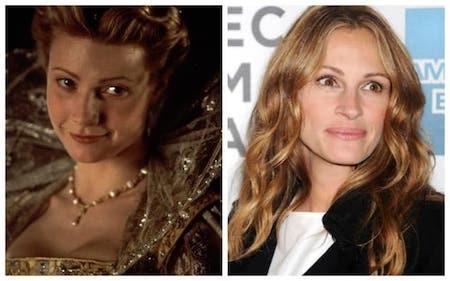 """Gwyneth Paltrow đã nhận được một tượng vàng Oscar danh giá cho vai diễn trong phim """"Shakespeare in love"""" nhưng đáng lẽ, vai nữ chính trong phim đã thuộc về Julia Roberts nếu như """"người đàn bà đẹp"""" không đột ngột quyết định bỏ vai."""