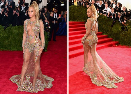 Trước đó, tại lễ trao giải Grammy 2014, Beyoncé cũng đã khiến các fan hâm mộ phải xôn xao không ngớt với bộ cánh hở bạo cùng hoa lá như thế này