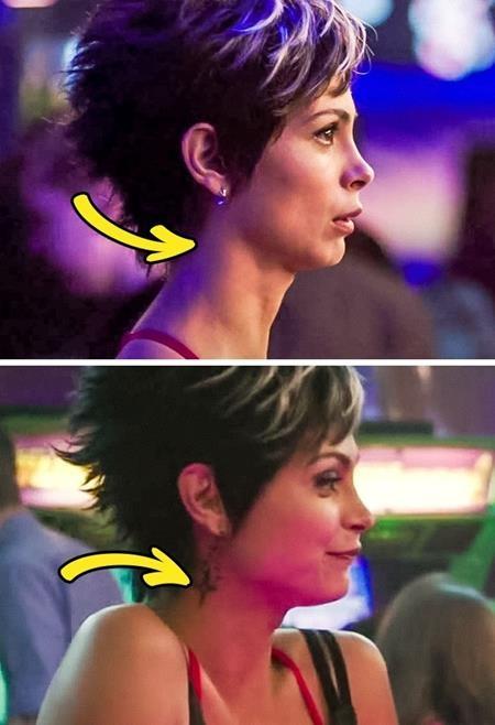 Trong một cảnh quay tại quán bar, hình xăm của cô bạn gái Deadpool lại lúc có lúc không