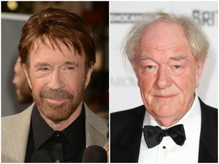 """Dù đều đã bước sang tuổi 76 nhưng trông Chuck Norris vẫn khá trẻ trung còn Michael Gambon thì quả thực đã xếp vào hàng """"gạo cội"""" và được đánh giá là khá đẹp lão"""