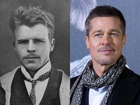 """Nam tài tử Brad Pitt cũng bị nghi ngờ có quan hệ """"mờ ám"""" với nhà phân tâm học Hermann Rorschach vì sự giống nhau quá đỗi bất thường giữa cả hai."""