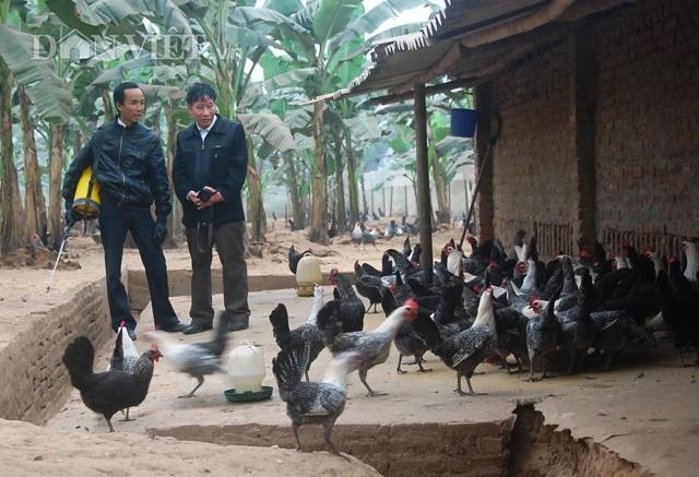 Nông dân Vũ Đình Trọng (trái) chia sẻ về bí kíp làm giàu (Ảnh: Vĩnh Thắng).