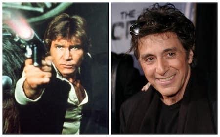 """Ngôi sao phim """"Bố già"""" Al Pacino từng được mời đóng vai Han Solo trong phim """"Chiến tranh giữa các vì sao"""" nhưng do không hiểu được nội dung kịch bản nên nam tài từ đã quyết định lắc đầu từ chối series phim có sức ảnh hưởng nhất trong lịch sử văn hoá Hoa Kỳ."""
