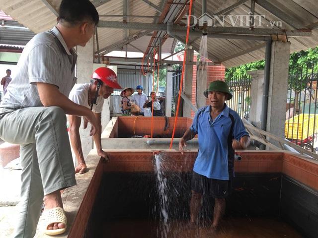 """Ông Nguyễn Văn Lượng (54 tuổi, người mặc áo xanh) được mệnh danh """"Gia Cát Lượng """", có thâm niên hơn 24 năm trong nghề ương cá giống. Ảnh: Nguyễn Hoàn."""