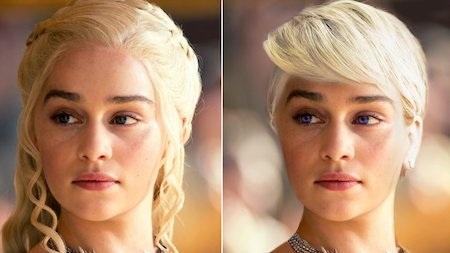 Daenerys Targaryen trong truyện là một cô gái xinh đẹp, gày gò với cặp mắt tím cùng mái tóc được cuốn gọn gàng ra sau, dù vậy nhưng khi lên phim, các khán giả vẫn hết sức hài lòng với tạo hình của Emilia Clarke khi hóa thân thành Mẹ Rồng