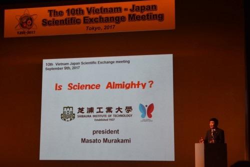Bài phát biểu của GS. Murakami, Hiệu trưởng trường Đại học Shibaura (ảnh: Quang Đức).