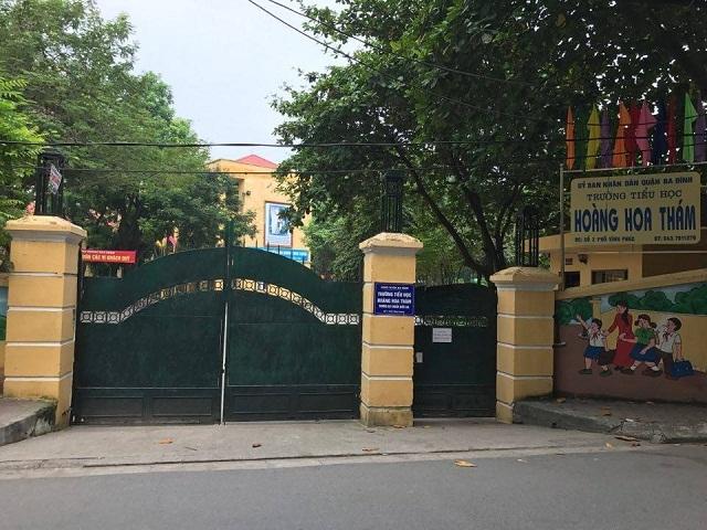 Trường tiểu học Hoàng Hoa Thám (Ba Đình, Hà Nội) nơi xảy ra sự việc.
