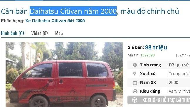 Chiếc Daihatsu Citivan đời năm 2000 được quảng cáo là trang bị camera hành trình, camera lùi, âm thanh sống động có loa sub, ghế bọc da, 5 mâm đúc, lốp còn dùng tốt, 2 giàn lạnh hoạt động tốt, đăng kiểm còn và bảo hiểm còn thời hạn dài. Xe được rao bán giá 82 triệu đồng.