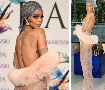 """Khi tham gia sự kiện CFDA Fashion Awards 2014, Rihanna đã lựa chọn một bộ cánh khó mà có thể """"mát mẻ"""" hơn được nữa"""