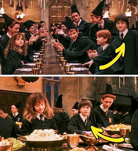 """Cũng trong bộ phim """"Harry Potter và Hòn đá Phù thủy"""", Harry đang ngồi cạnh Ron bỗng lại chuyển qua ngồi giữa Hermione và Percy trong cảnh quay kế tiếp"""