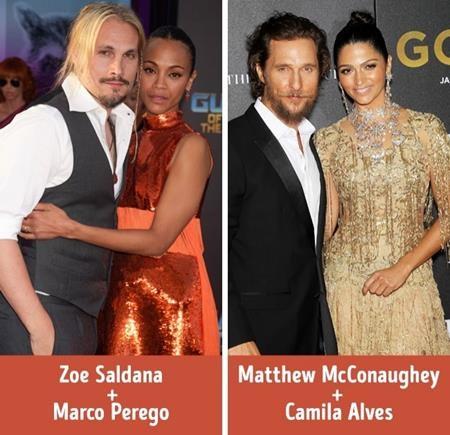 """Là một nữ diễn viên người Mỹ nhưng Zoe Saldana lại nên duyên với giọng ca người Ý Marco Perego. Nam tài tử Matthew McConaughey cũng """"phải lòng"""" chân dài gốc Brazil Camila Alves và chuyện khác biệt về quê hương, quốc tịch chỉ càng làm cho tình thêm mặn nồng, thú vị."""