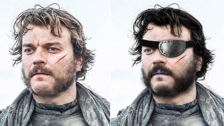 Nhân vật Euron Greyjoy nên cảm thấy may mắn vì khi lên phim đã được nhìn mọi sự bằng một cặp mắt đầy đủ và màu tóc của nam tài tử Pilou Asbæk cũng khá phù hợp với nhân vật