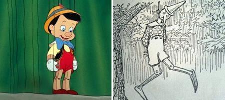Pinocchio theo nguyên tác của nhà văn Carlo Lorenzini khó mà có thể hài hước, dí dỏm như khi lên phim hoạt hình. Nhân vật cậu bé người gỗ trong truyện khá nghịch ngợm, hay nói dối và thậm chí đã bị treo cổ lên cây vì những lỗi lầm của mình.