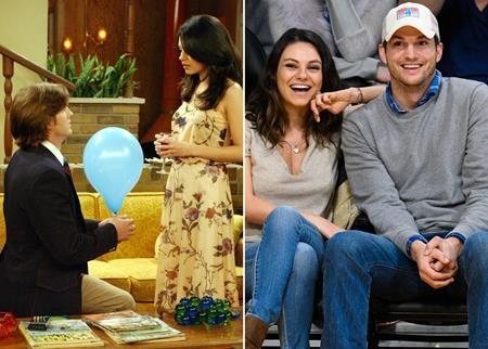"""Gặp gỡ nhau trên phim trường của """"That 70s show"""" từ năm 1998 nhưng phải đến năm 2015, người hâm mộ của cặp đôi """"Kelso"""" Mila Kunis và """"Jackie"""" Ashton Kutcher mới được thỏa lòng khi chứng kiến hai ngôi sao thực sự kết hôn với nhau ở ngoài đời."""
