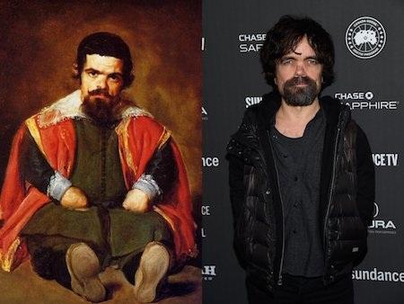 """Ngôi sao của bộ phim """"Trò chơi vương quyền"""" Peter Dinklage dường như đã sớm dấn thân vào làng nghệ thuật thông qua sự xuất hiện trong bức tranh nổi tiếng """"Dwarf sitting on the floor"""" của hoạ sĩ Tây Ban Nha Diego Velázquez vẽ hồi năm 1645."""