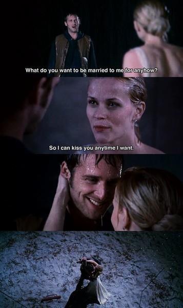 """Người đẹp Reese Witherspoon đã có một cảnh hôn không thể lãng mạn hơn cùng """"người chồng màn ảnh"""" Josh Lucas trong bộ phim """"Sweet home Alabama"""" (2002)"""