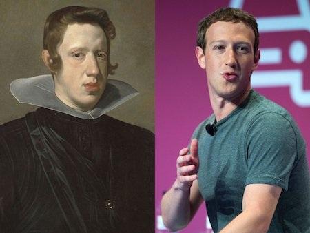 Mark Zuckerberg cũng gây sốt khi trông quá giống với vua Philip IV của Tây Ban Nha.