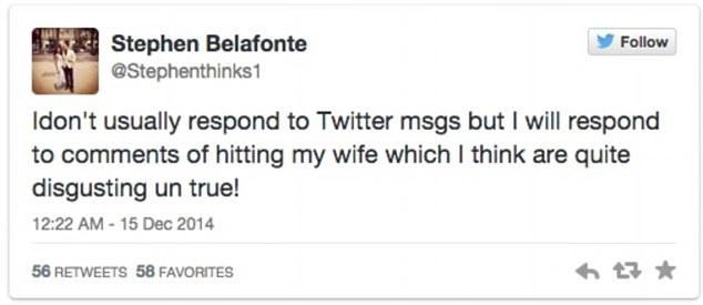 Stephen Belafonte lên tiếng phủ nhận chuyện anh đánh đập vợ trong thời gian chung sống.