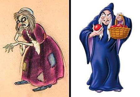 """Mụ phù thủy trong """"Snow White and the Seven Dwarfs"""" luôn giữ nguyên tinh thần gian ác, từ bản thảo cho tới phiên bản chính thức"""