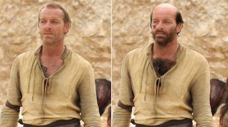 Theo những gì mà nguyên tác miêu tả thì Jorah Mormont không phải là một người đàn ông điển trai với một cái cổ và vai bè ra như bò đực, đầu hói cùng lông mọc đầy ngực