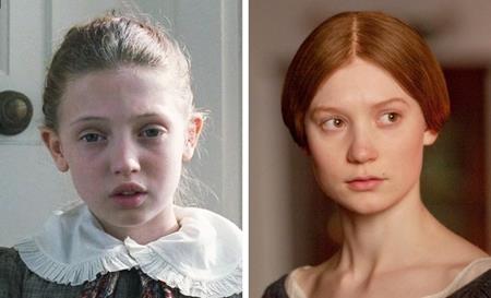 """Trong bộ phim """"Jane Eyre"""", nhân vật chính Jane hồi bé do Amelia Clarkson thể hiện còn khi lớn lên là Mia Wasikowska"""