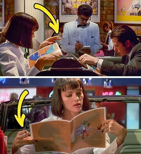 """Trong """"Pulp fiction"""", khi Mia và Vincent ngồi trong quán cà phê, bàn tay cầm điếu thuốc của Mia cũng hoán đổi liên tục"""