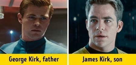 """Trong phần phim """"Star trek"""" (2009), George Kirk (Chris Hemsworth đóng) đã xuất hiện chớp nhoáng ở những phút đầu tiên trước khi cậu con trai James Kirk (Chris Pine) chính thức """"lên sàn"""""""