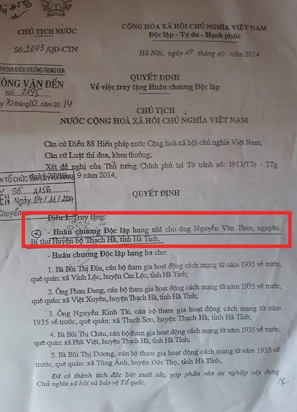 Quyết đinh truy tặng Huân chương Độc lập hạng Nhì cho ông Nguyễn Thao với chức danh Bí thư huyện bộ Thạch Hà khiến đông đảo đảng viên tại xã Phù Việt không đồng tình.