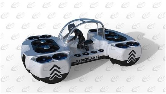 AirQuadOne sử dụng một một hệ thống pin tương đối khủng với trọng lượng khoảng 100 kg, chiếm 1/5 trọng lượng của cả chiếc xe bay này.