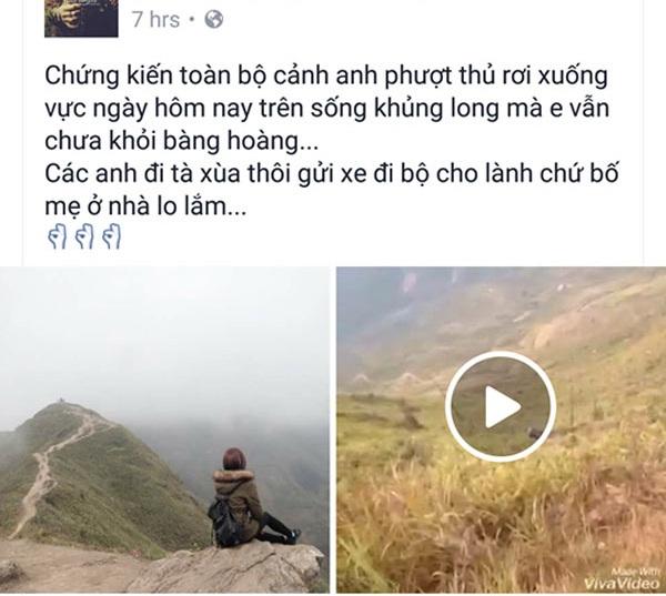 Một trong những người chứng kiến chia sẻ đoạn video lên Facebook để cảnh báo cho những phượt thủ khác.