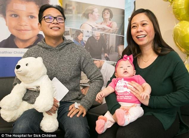 Các bác sĩ phẫu thuật mở tử cung người mẹ (phải) để phẫu thuật trên cột sống của bé Eiko (giữa) nhằm sửa chữa tật nứt đốt sống gây thoát vị màng não tủy, một dị tật có thể khiến bé sẽ tổn thương hệ thống thần kinh và vận động suốt đời. Phẫu thuật đã thành công. Trong ảnh là gia đình bé Eiko khi bé được 3 tháng tuổi.